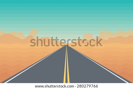 Road in The Desert with a Mountain View - Stylized Landscape Illustration - stock vector