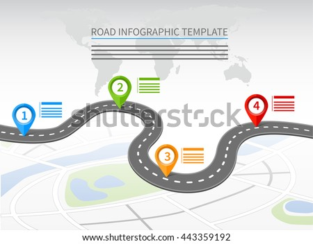 Road infographic template with a curvy road and four pointers - stock vector