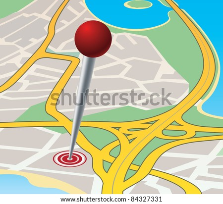 Road junction in residential area near the sea. Purpose of the trip - stock vector