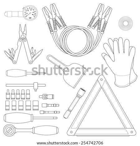 Road kit linear set. Tire pressure gauge, jumper cables, insulating tape, working gloves, emergency sign, flashlight, ice scraper, ratchet set, screwdriver, multi-tool. Vector illustrations - stock vector