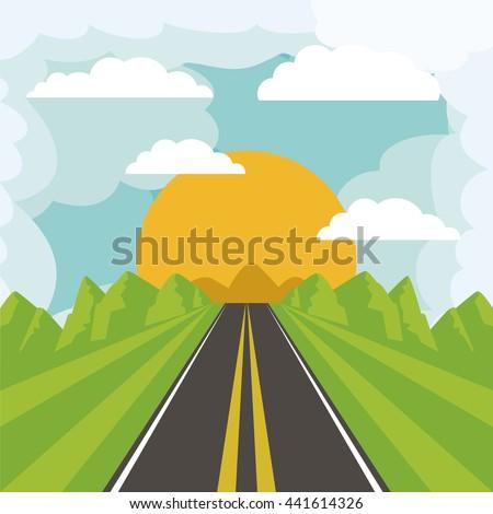 road landscape design  - stock vector