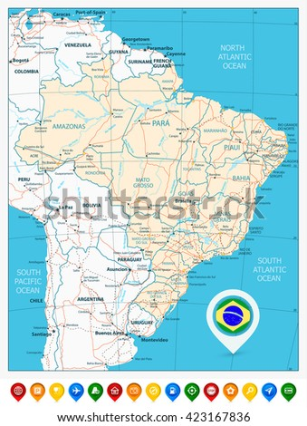 Road map of Brazil and colored map pointers. Vector illustration.