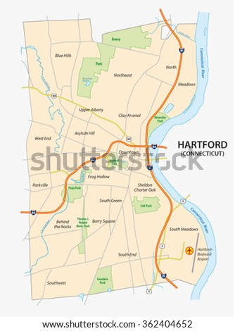 Road Map Of Hartford The Capital Of The Us State Of Connecticut