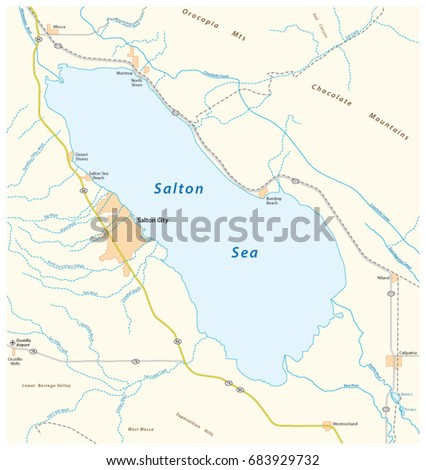 Road Map Californian Salton Sea Stock Vector HD Royalty Free