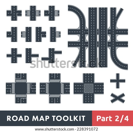 Road Map Toolkit. Part 2 of 4: Crossroads and Pedestrian Crossings - stock vector
