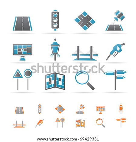 Road, navigation and travel icons - vector icon set - stock vector