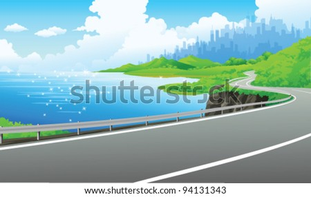 Road on the bank of the lake - stock vector
