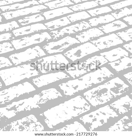 road paved with stone gray - stock vector