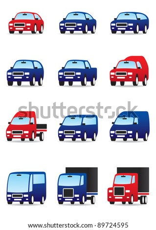 Road private and public transport icons set - vector illustration - stock vector