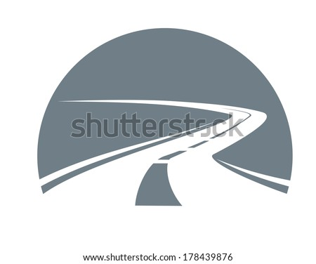 Road receding into the distance winding away logo to the point of infinity, grey and white vector icon - stock vector