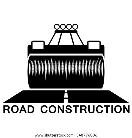 Road roller black and white sign isolated on white background. - stock vector