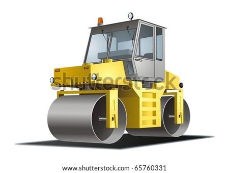 Road roller vector - stock vector