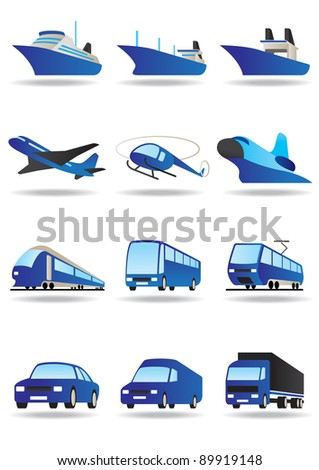 Road, sea and space transport icons set - vector illustration - stock vector