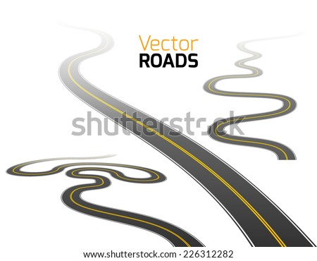 Road set. Vector. - stock vector