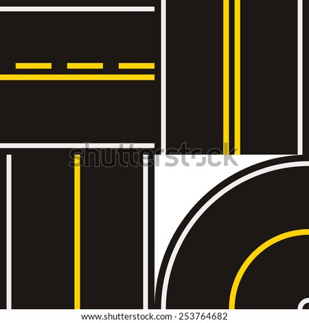 road set with road markings - stock vector
