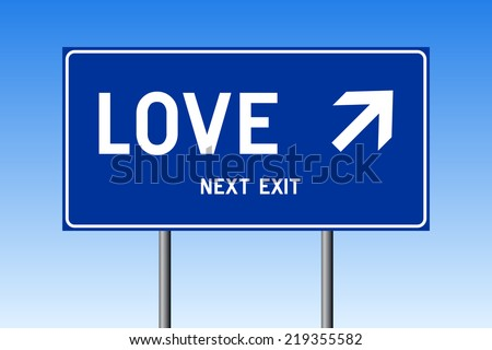 Road sign concept - LOVE with up right arrow on blue background against blue sky - stock vector