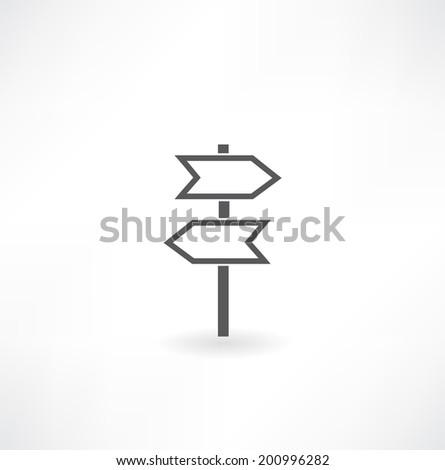 Road sign - green arrow on the pillar. - stock vector