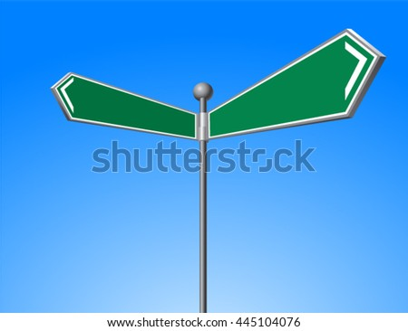 Road sign green vector Illustration.