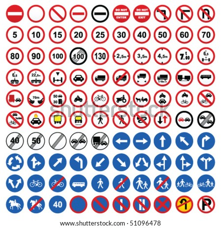 road sign icons - stock vector