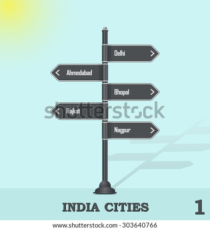 Road sign post - India cities 1 - stock vector