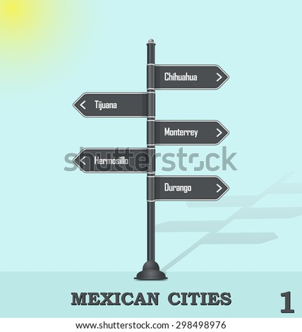 Road sign post - Mexican cities 1 - stock vector