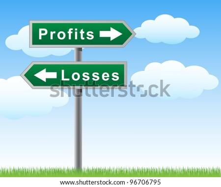 Road sign profits losses.jpg - stock vector