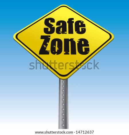 Road sign safe zone vector illustration - stock vector