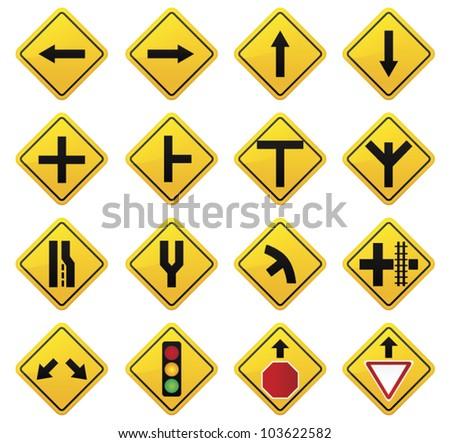 Road Sign  set - stock vector