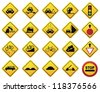 Road Sign Set - Warning - stock vector