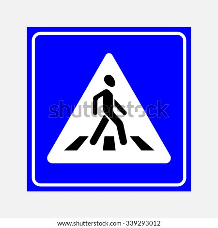 road sign the crosswalk, walking man on a blue background, fully editable vector image