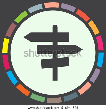 Road sign vector icon. Crossroad sign. Guide signpost symbol