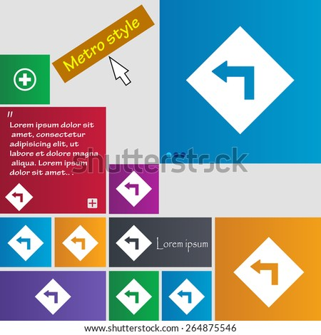 Road sign warning of dangerous left curve icon sign. Metro style buttons. Modern interface website buttons with cursor pointer. Vector illustration - stock vector