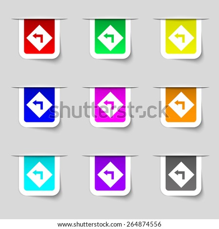 Road sign warning of dangerous left curve icon sign. Set of multicolored modern labels for your design. Vector illustration - stock vector