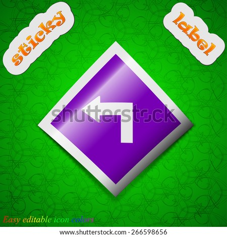 Road sign warning of dangerous left curve icon sign. Symbol chic colored sticky label on green background. Vector illustration - stock vector