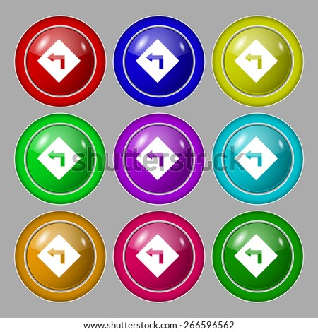Road sign warning of dangerous left curve icon sign. symbol on nine round colourful buttons. Vector illustration - stock vector