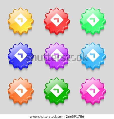 Road sign warning of dangerous left curve icon sign. symbol on nine wavy colourful buttons. Vector illustration - stock vector