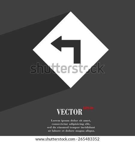 Road sign warning of dangerous left curve  icon symbol Flat modern web design with long shadow and space for your text. Vector illustration - stock vector