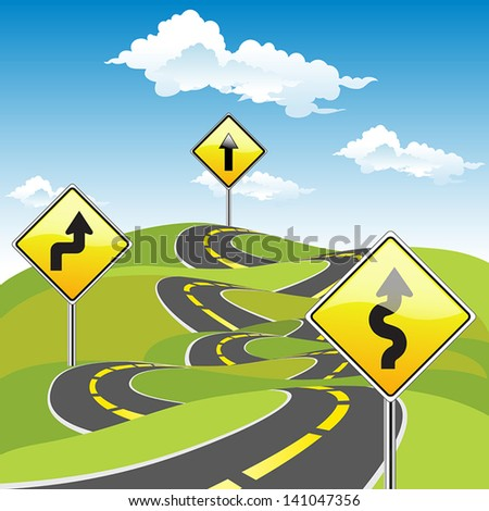 Road Sign Ways  Business Concept - stock vector