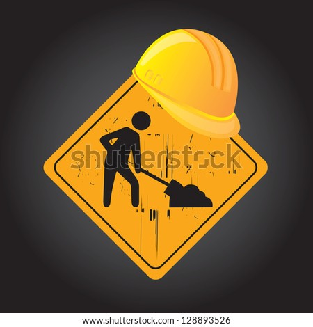 Road signal of construction over black background - stock vector