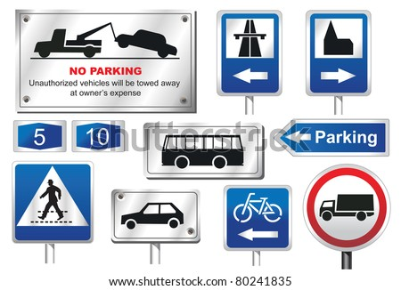 Road Signs - European - stock vector