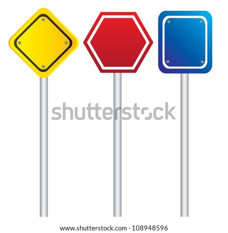 road signs in different shapes and colors