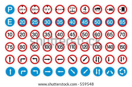 road signs in vector format pack 2 - stock vector