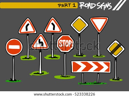Road Signs of Russia. Cartoon illustration