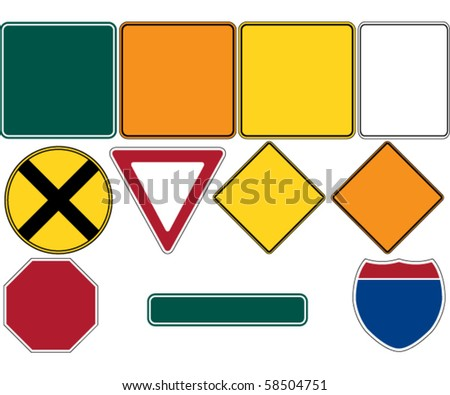 Road Signs Set 1 - stock vector