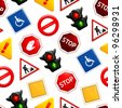Road signs, vector seamless pattern - stock vector