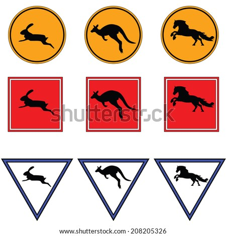 Road signs with kangaroo, horse and rabbit. Vector. - stock vector