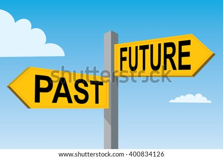 road signs with terms past and future, blue sky
