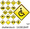 Road Signs YELLOW series: 17 different detailed US/Australian style road signs; part 3/3 - stock vector