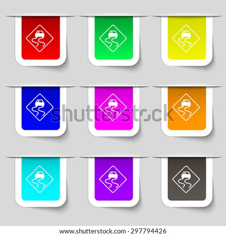 Road slippery icon sign. Set of multicolored modern labels for your design. Vector illustration - stock vector