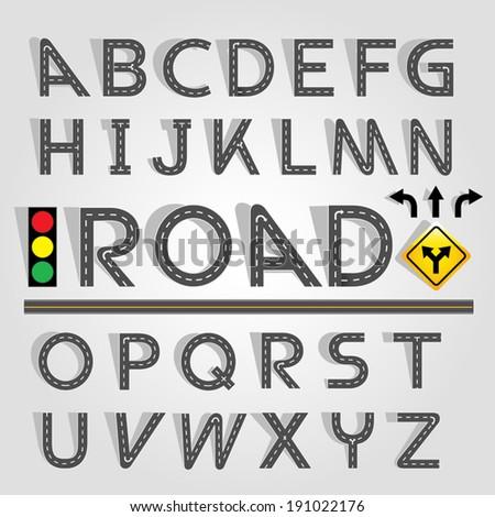 Road & Street Alphabet Set. Vector EPS10 - stock vector